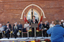 Mayor George Adam Zegouras speaking at the re-opening of city hall, in Belleville, Onatrio.