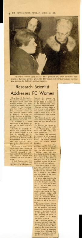 Research Scientist Addresses PC Women