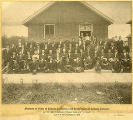 Photograph of members of the Order of Railway Conductors and Brotherhood of Railway Trainmen invo...