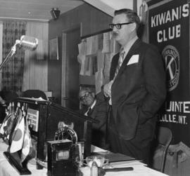 Man talking at the Kiwanis Club in Belleville, Ontario.