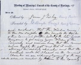 Macdonald, Sir John A.  :  Hastings County Council motion of thanks