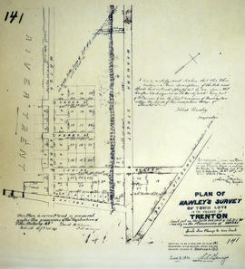 Plan of Hawley's Survey of town lots in Village of Trenton