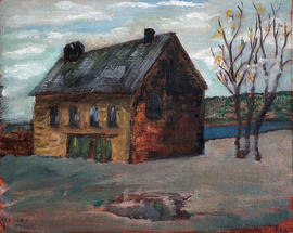 Oil painting of building known as 'Meyer's Mill'