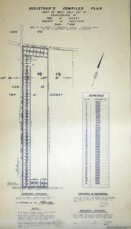 Registrar's Plan of Lot 31 in the Township of Sidney