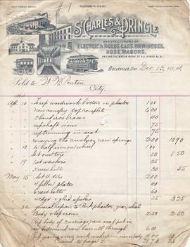 Belleville Business invoices St. Charles & Pringle 1894