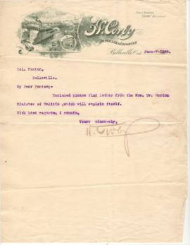Letter from Henry Corby to Col. Ponton