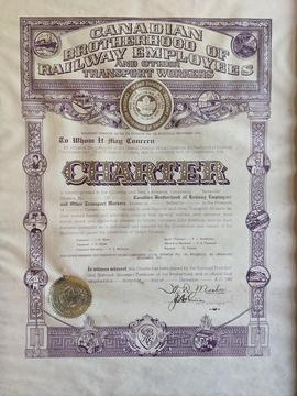 Framed charter for the Belleville Division of the Canadian Brotherhood of Railway Employees