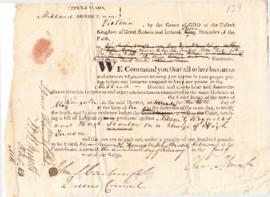 Rebellion, 1838 : warrants for witnesses against Nelson Reynolds and Hugh Scanlon