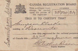 Registration certificate for Sampson Clarke