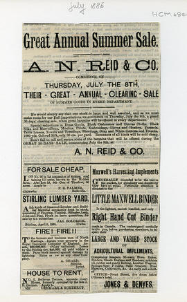 A.N. Reid & Co.; Stirling Lumber Yard; Jones & Denyes, agricultural implements