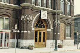 Photograph of City Hall exterior front entrance in Belleville, Ontario taken from Front Steet.