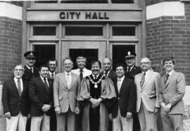 Mayor George A. Zegouras and men in Belleville, Ontario.