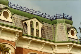 Roof detail at northeast corner of Bridge and Albert Streets
