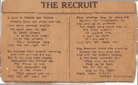 Newspaper clipping of 'The Recruit' poem by Helen Fairbairn
