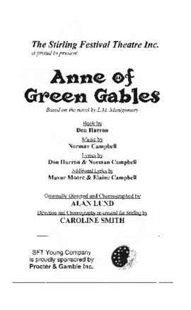 Anne of Green Gables Program