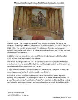 Reports on wall paintings in Moira United Church and the Stone Church, Quinte West