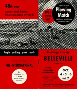 1961 Internatinal Plowing Match Prize List