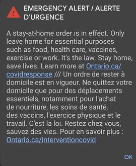Emergency alert about Government of Ontario stay-at-home order