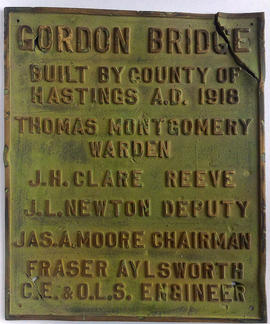 Gordon bridge plaque