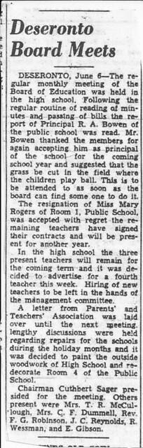 News clipping about the Deseronto Board of Education