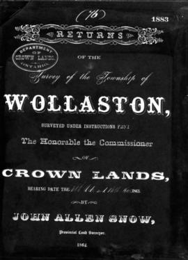 Returns of the Survey of the Township of Wollaston - Cover