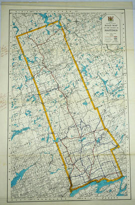 Road Map of Hastings County 1956
