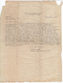 Letter to Mrs McAfee of Deseronto on the death of her son