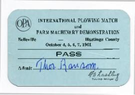 1961 International Plowing Match Pass