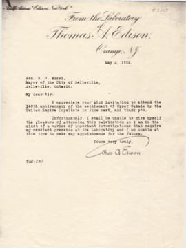 Reproduction of a letter from Thomas Edison