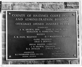 """County of Hastings Court House and Administration Building officially opened January 18 196..."