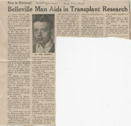 Belleville Man Aids in Transplant Research