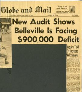 Belleville Council business – financial crisis re McFarlands 1959