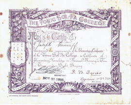 Certificates from Tonic Sol-Fa College, London, for Joseph Canniff