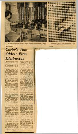 Corby's Has Oldest Firm Distinction