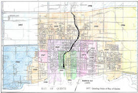Coloured maps showing City of Belleville boundaries over time