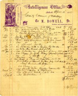 Mackenzie Bowell bill with letter head 1865