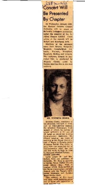 News clipping on Eastern Ontario Concert Orchestra