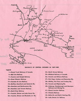 Map of Central Ontario Railways in 1847-1889