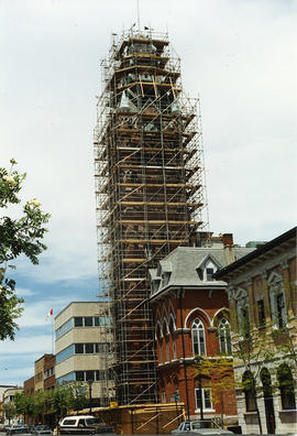 The City Hall clock tower under renovation. Belleville, Ontario.