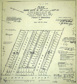 Subdivision of Park Lots 61-62 in the town of Trenton