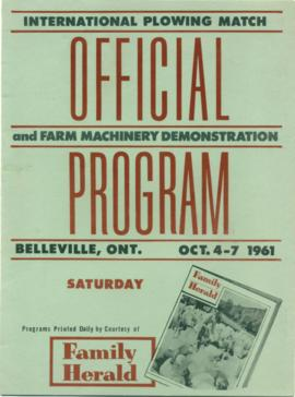 1961 International Plowing Match Official Program
