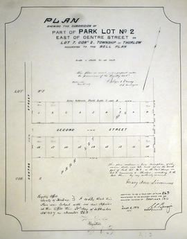 Subdivision of Park Lot 2 in the Township of Thurlow