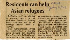 Clippings relating to refugees from Southeast Asia