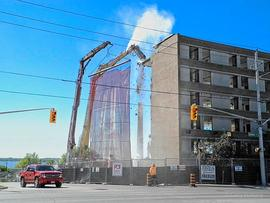 Digital photographs of demolition of nurses' residence building at Belleville General Hospital