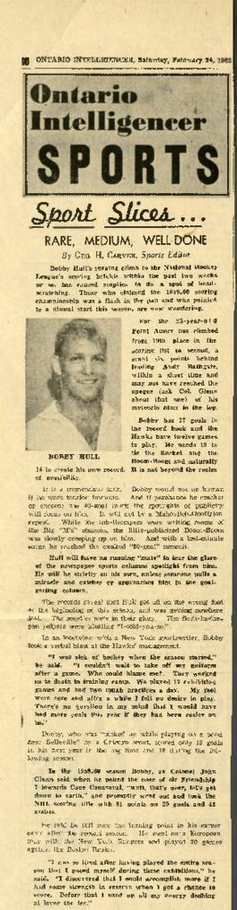 Belleville Sports : Bobby Hull