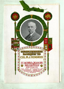Colonel Hendrick's banquet program
