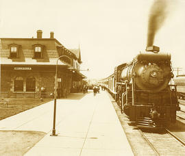 Reproduction photograph of Belleville Station and locomotive 6027