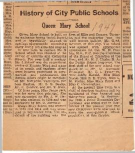 Education : Queen Mary Public School history, 1947