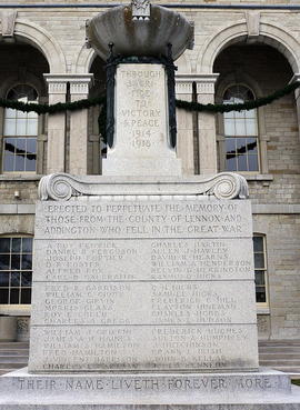 Digital photographs of the names on the Napanee cenotaph