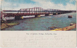 Coloured postcard of the Bay of Quinte Bridge, Belleville, Ont.